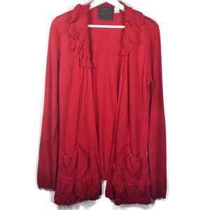 Anthropologie Guinevere red cardigan